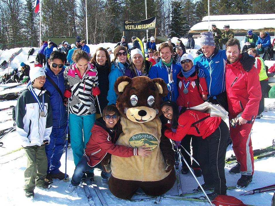 Staff and students at the ski event. It's hard not to admire how quickly they make friends...