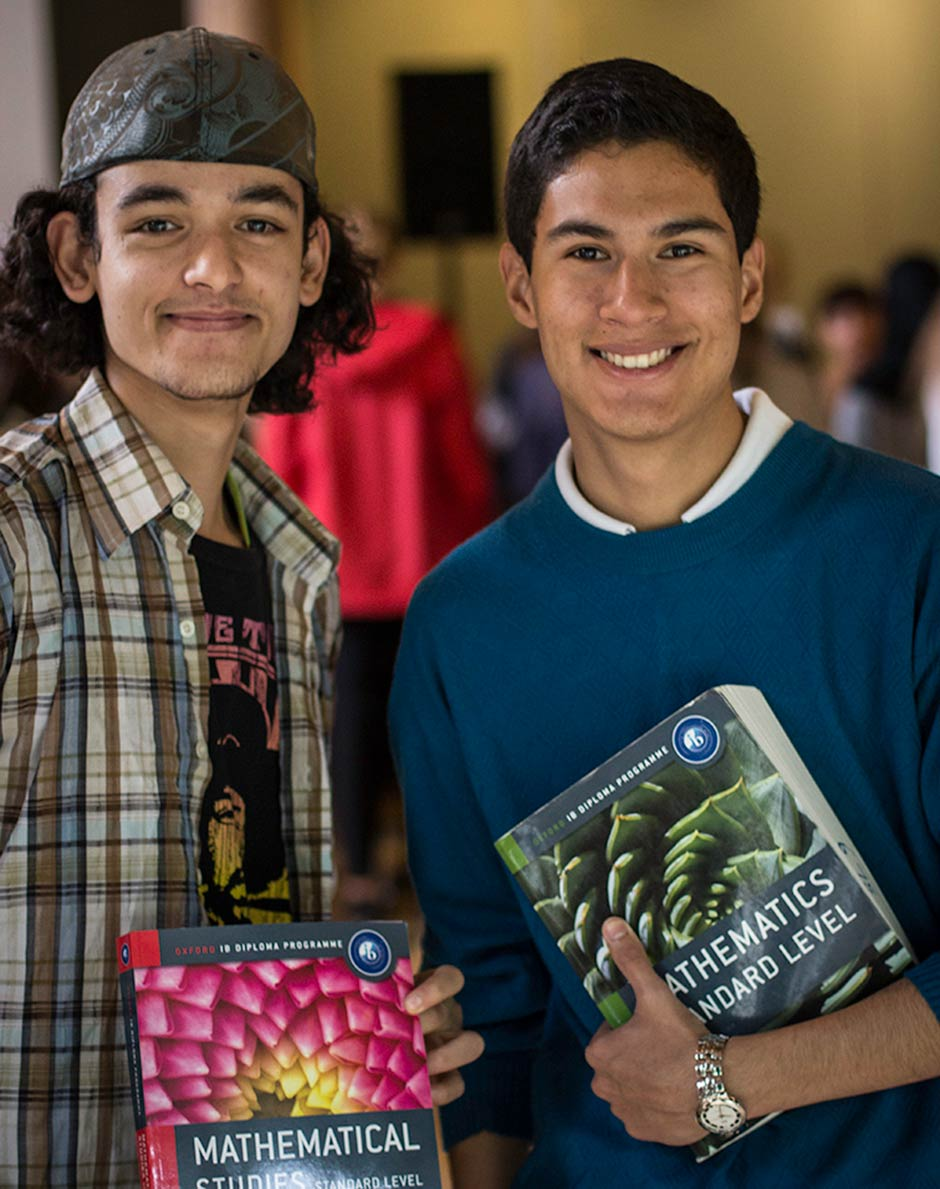 Essam (Libya) and Augusto (Peru) during the subject fair - mathematics anyone?