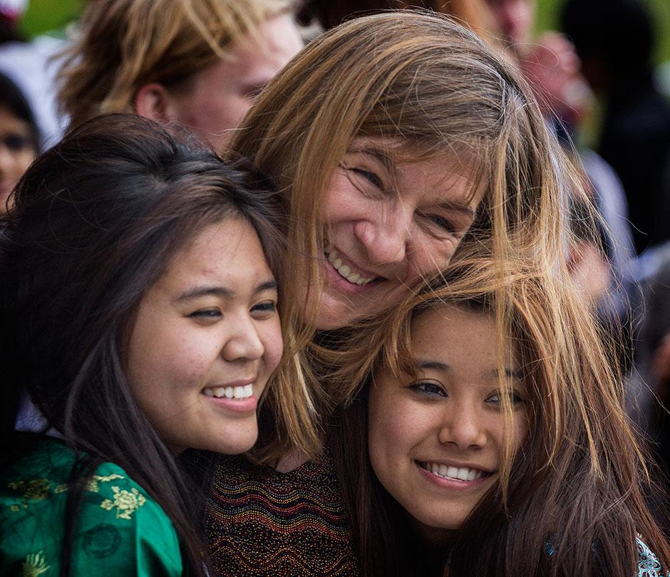 Biology teacher Jelena Belamaric (Croatia) and the two Tenzins from Tibet