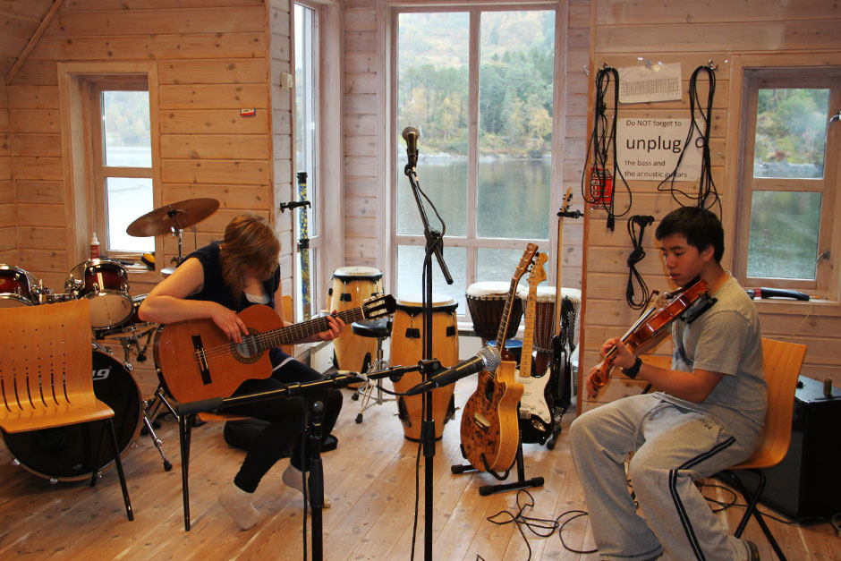 In the music room overlooking the fjord. A peaceful place to make a joyful noise