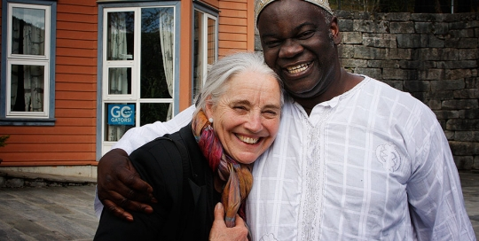 Vibeke from SOS Norway with Development Studies teacher Daniel Toa-Kwapong (Ghana)