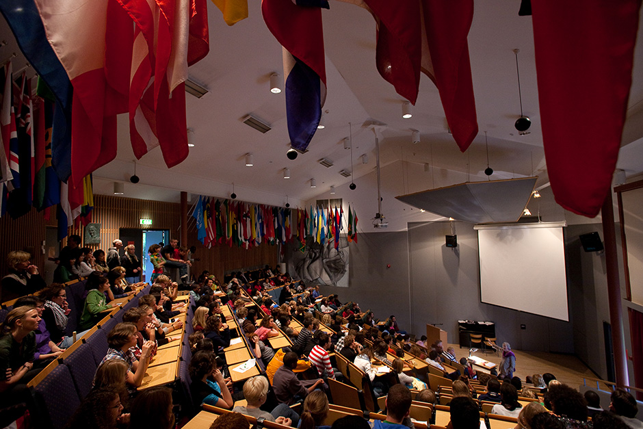 A presentation in the auditorium