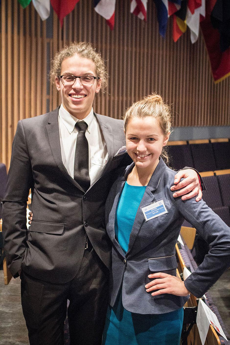MUN delegates Jonas (Denmark) and Grete (Latvia)