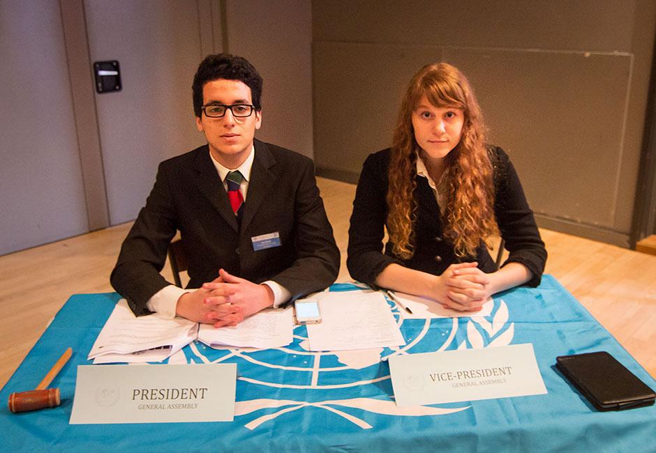 MUN. President Ayoub Belemlih (Morocco) and Vice-President Sarah Gerber (Sweden)