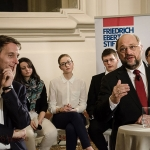 Martin Schultz (front right) speaking during the event. Lina sits back and centre.