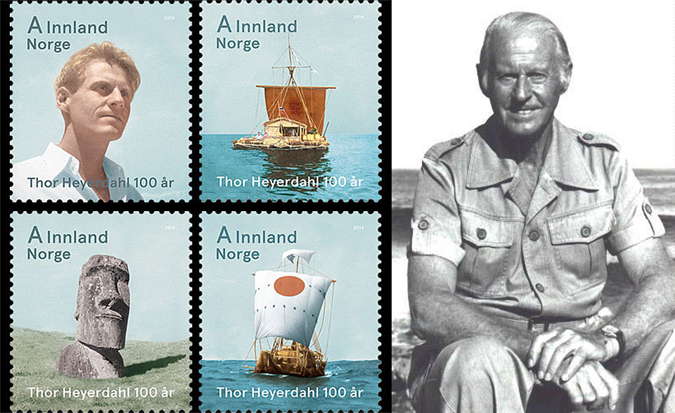 A set of stamps, issued to commemorate the 100th anniversary of Thor Heyerdahl's birth.