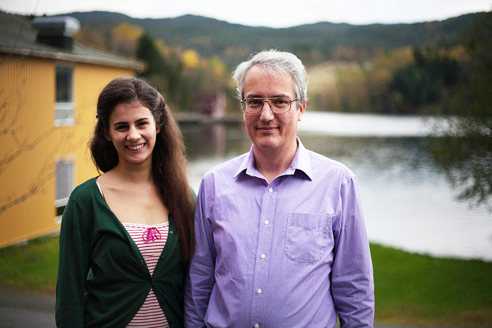 Dr. Ronald Sturm with first-year Austrian student Antonia Reininger