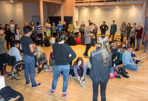 RCN student Mateo Dupleich Rozo leading a Theatre Game activity with our visitors
