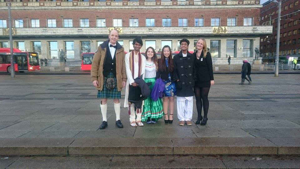 Outside Oslo City Hall before the ceremony
