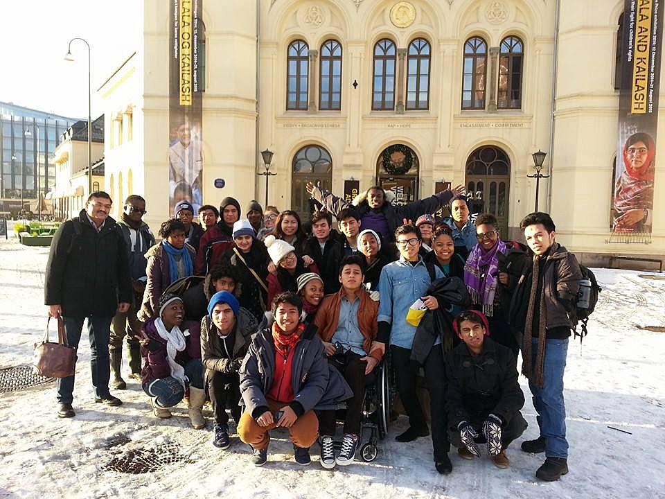 In Oslo, outside the Nobel venue.