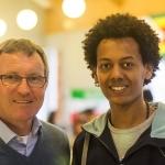 With Eritrean refugee student Samuel Tesfamariam