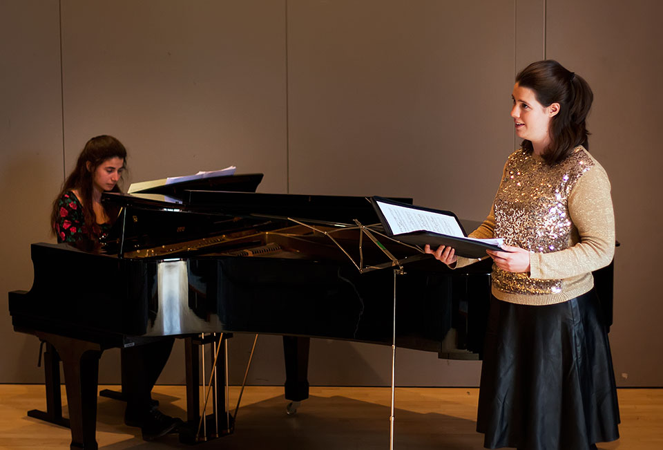 During the recital. Christina on piano, Aileen singing.