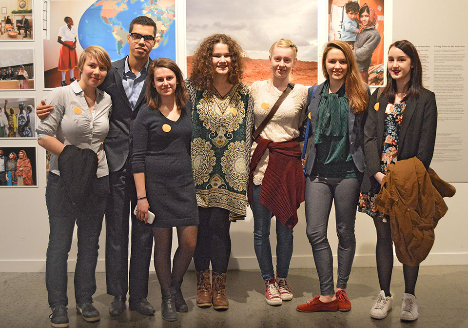 Jana Řežábková , Fouad El Hamdouni , Era Kurtaliaj , Bianca Bunoiu, Elisa de Wilde and Grete Kütt with (far right) another of the participants.