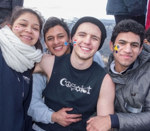Lorena, Melvin, Dylan and Mohammed - all smiles having made it!