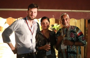 Larry with Jahnvi Pananchikal (RCN alumna and Communications and Advancement Coordinator at Mahindra) and Gunvant Govindjee (former teacher at RCN).