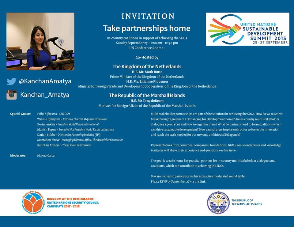Kanchan Amatya's profile on the announcement of her participation inthe UN Sustainable Development Summit