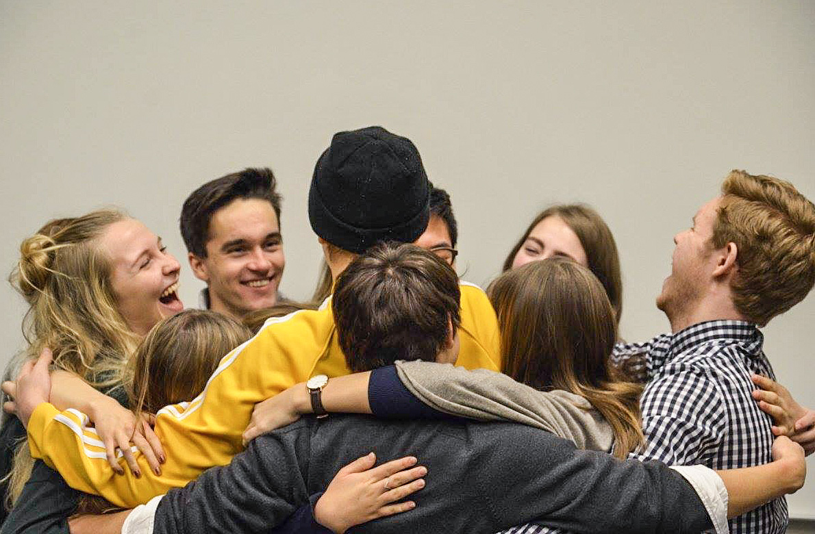 The two student councils - group hug! (Photo by Ole Marius Seitz Småland)