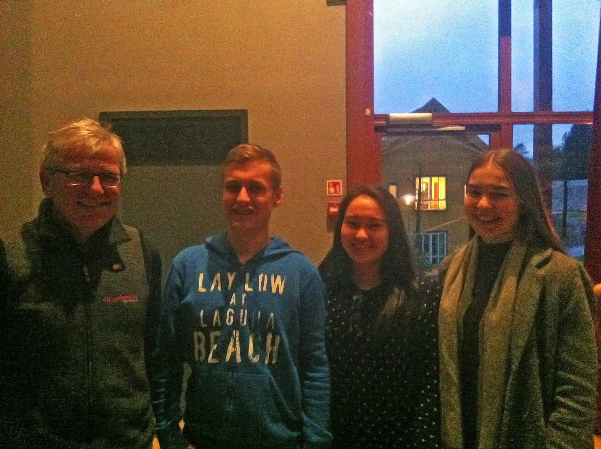 Torodd Helle with students Jacob, Louise and Thea