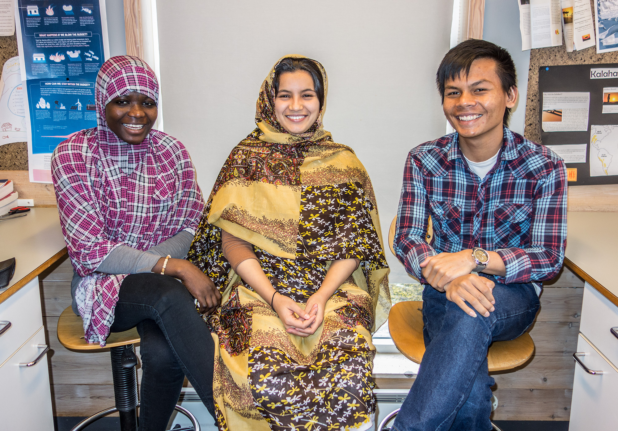 Samira (Niger), Sumaya (Western Sahara) and Mean (Cambodia) - students currently on our Foundation Year Programme