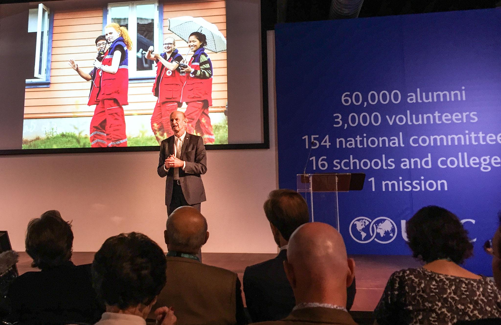 Sven Mollekeiv, President of the Norwegian Red Cross, delivering his keynote address