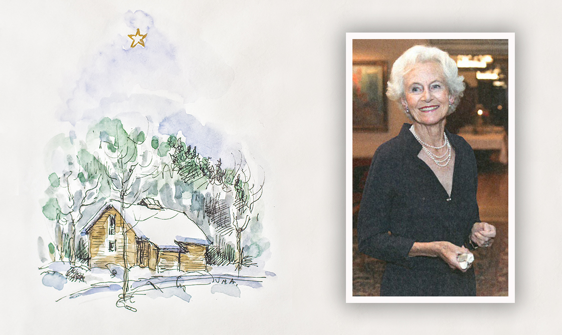 Marianne Andresen and her watercolour of the College's Silent House