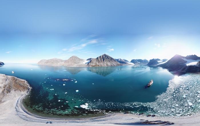 The boat near Svalbard